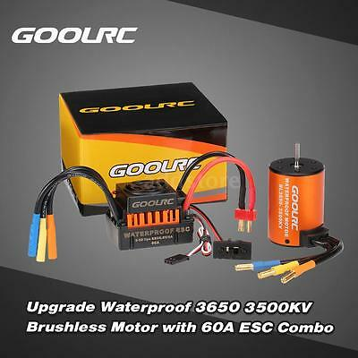 GoolRC Waterproof 3650 3500KV Brushless Motor &60A ESC Combo Set for 1/10 RC Car