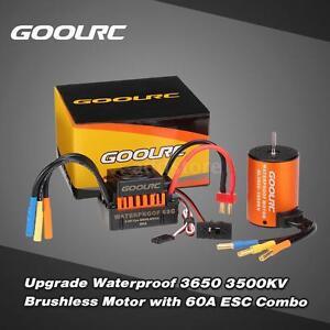 GoolRC Waterproof 3650 3500KV Brushless Motor &60A ESC Combo Set for 1/10 RC Car