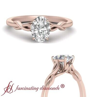 Solitaire Infinity Twist Engagement Ring With Center Oval Shaped Diamond 3/4 Ctw