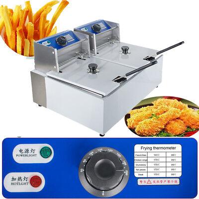 11 Liter Electric Countertop Deep Fryer Dual/Two Tanks Commercial Restaurant Lid