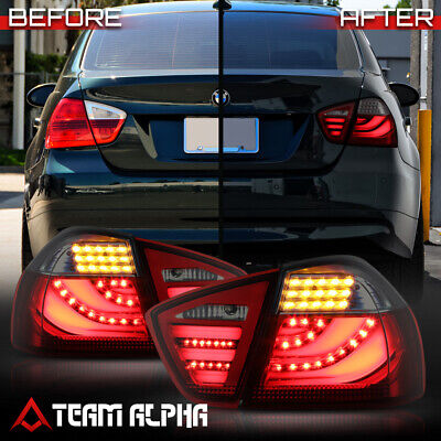 Fits 2006-2008 BMW E90/E91 3-Series 4Dr {NEON TUBE LED BAR} Red/Smoke Tail Light