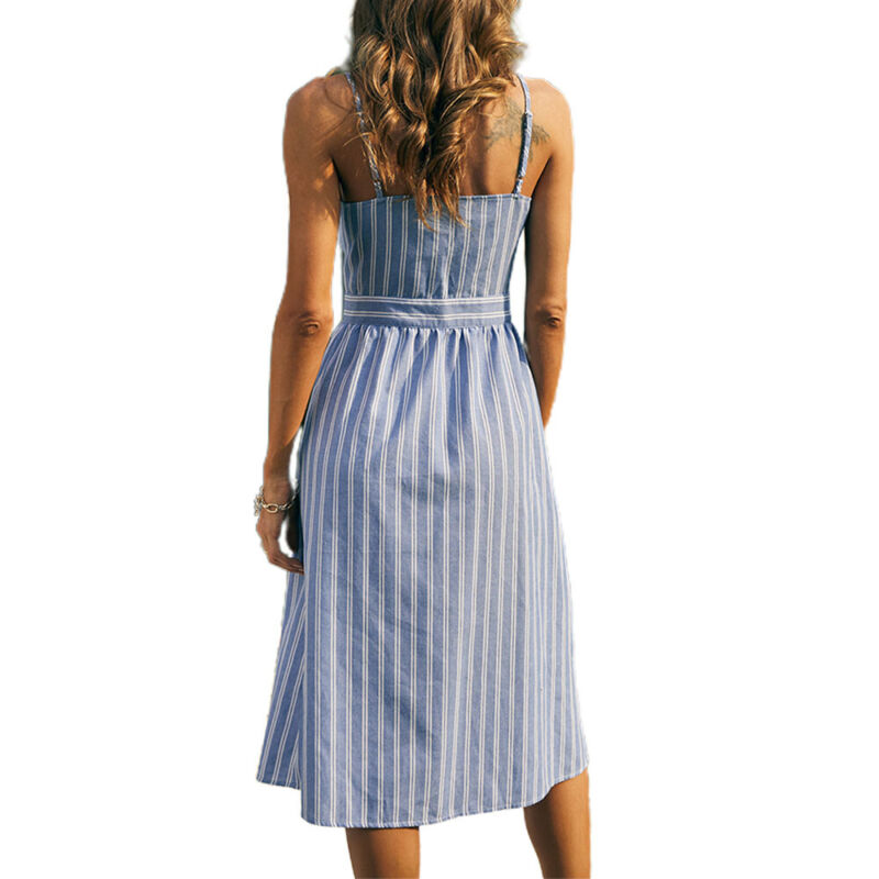 Women Sleeveless Bowknot Striped Midi Dress Summer Beach Holiday Casual Sundress Clothing, Shoes & Accessories