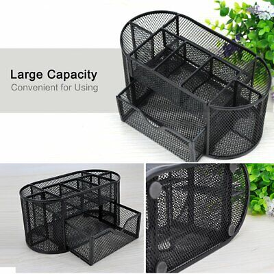 Black Desk Organizer Metal Mesh Office Pen Pencil Holder Storage Desktop Tray