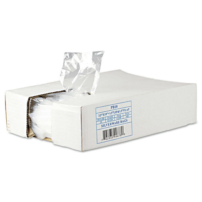 Inteplast Group PB10 2000/CT 3.5 in. x 1.5 in. Silverware Bags - Clear New