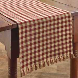Primitive Country Red & Tan Gingham Table Runner 13X36 Farmhouse Check size 1/2
