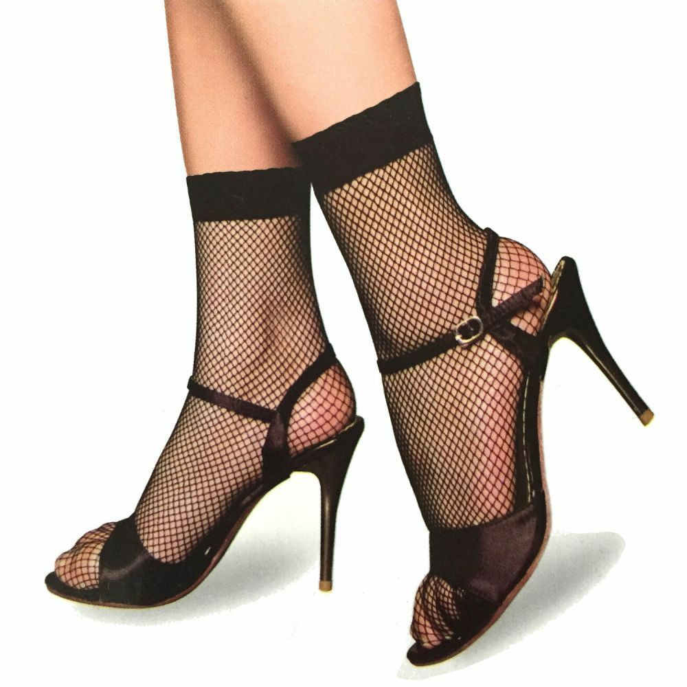 3 Paar Damen Netz Strümpfe Socken Schwarz Perlon Füsslinge Gothic Gogo S/M/L/XL