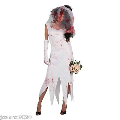 WOMENS ZOMBIE BRIDE UNDEAD DEAD HORROR POSSESSED HALLOWEEN FANCY DRESS COSTUME