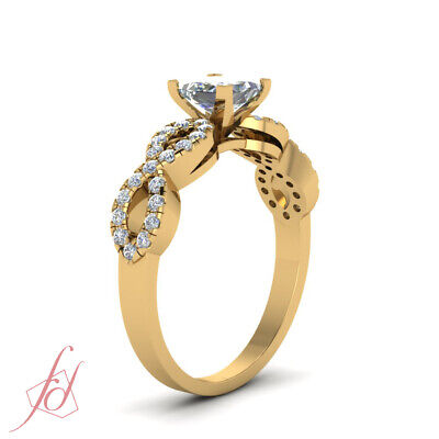 1 Carat Princess Cut Diamond Womens Gold Engagement Ring With Round Accents GIA 2