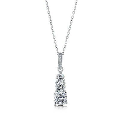 BERRICLE Sterling Silver 3-Stone Wedding Necklace Made with Swarovski Zirconia 3 Stone Sterling Silver Necklace