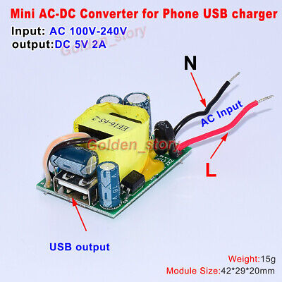 Mini Ac-dc Converter Ac110v 120v 220v 230v To 5v 2a Diy Usb Output Phone Charger