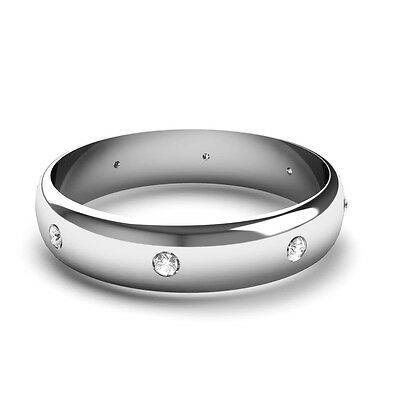 18CT White Gold Diamond Set Wedding Ring. D Shaped Band Set With 8 Diamonds D-shaped Band Wedding Ring
