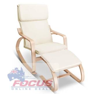 Birch Plywood Fabric Lounge Rocking Chair - Beige - w/Foot Stool