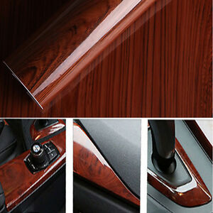 Glossy Wood Grain Textured Vinyl Self-adhesive Car Wrap Decals Sticker Cool
