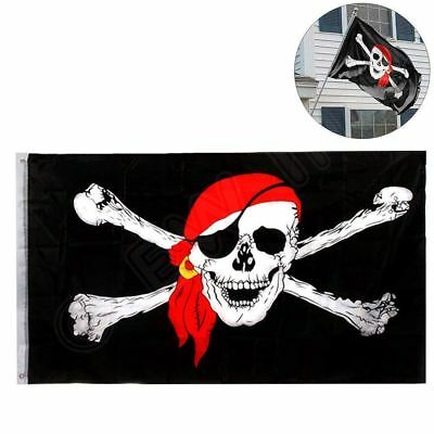 3x5 Jolly Roger Pirate Bandana Red Hat Skull Crossbones Flag 3'x5' House Banner](Red Pirate Bandana)