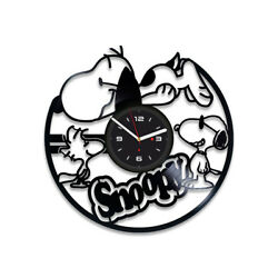Snoopy Retro Vinyl Record Wall Art Clock Large Cartoon Unique Art Gift For Kids