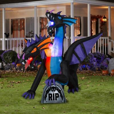 9 FT TWO HEADED DRAGON Airblown Lighted Yard Inflatable FIRE & ICE FLAMING MOUTH - Halloween Inflatables Dragon