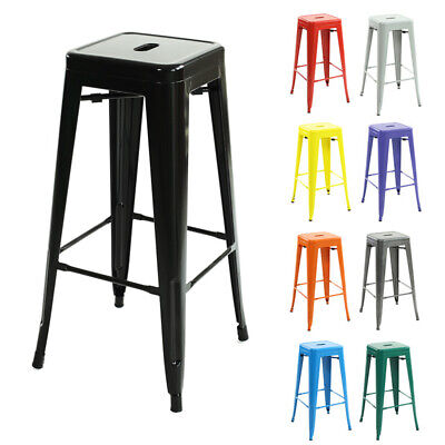1-4 Metal Breakfast Bar Stool Seat Chairs Industrial Tolix Diner Cafe Restaurant