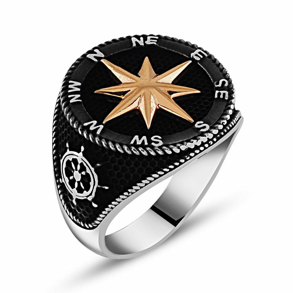 Solid Sterling Silver North Star Turkish Ring 925 K Sterling Silver Mens Ring