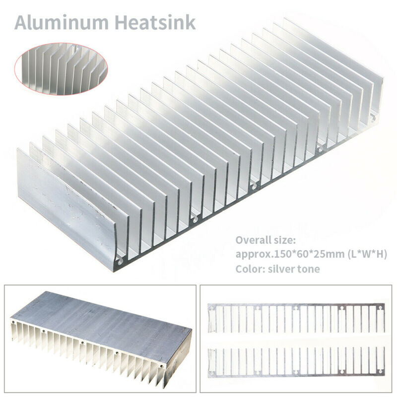 150X60X25mm Heat Sink Aluminum Heatsink Cooling Fins for Power Amplifier-Sliver
