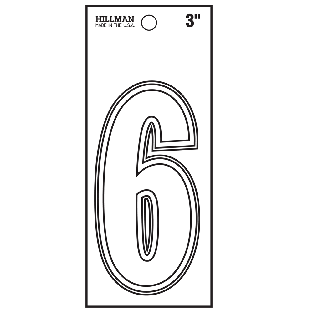 The Hillman Group 3-Inch White Vinyl Peel-Off Number 8