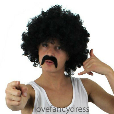 CURLY BLACK AFRO WIG AND MOUSTACHE 1970S DISCO STYLE ADULT 118 COSTUME - Afro Moustache