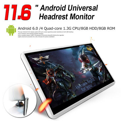 "11.6"" Android Tablet Touch Screen Panel WiFi Bluetooth Car Headrest Monitor USB"