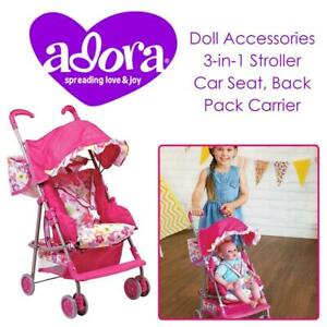 NEW Adora Dolls 217602 Doll Accessories 3-in-1 Stroller, Car Seat, Back Pack Carrier, Perfect for Kids 3 years  up Co...