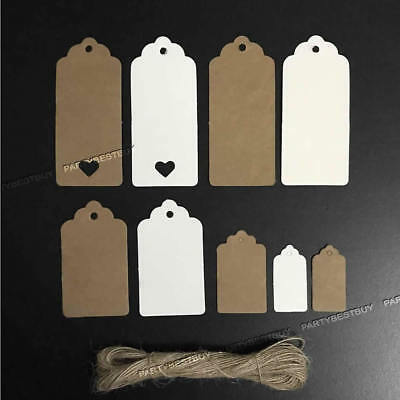25/50/100PCS Kraft Paper Hang Gift Tags Wedding Christmas Favor Scallop Label ()