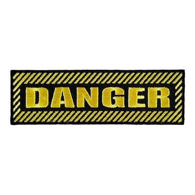 Danger Black & Yellow Embroidered Patches, Sayings Patches