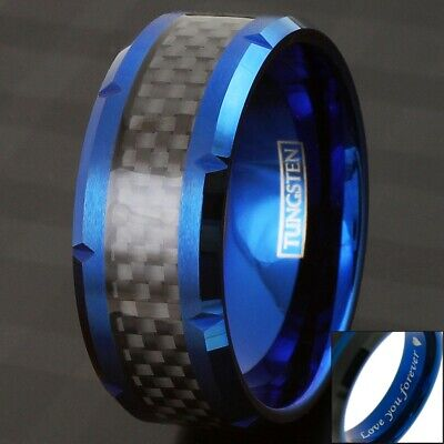10mm Wide Blue Tungsten Black Carbon Fiber Wedding Band Ring-Engraving Avail. 10mm Tungsten Black Jewelry