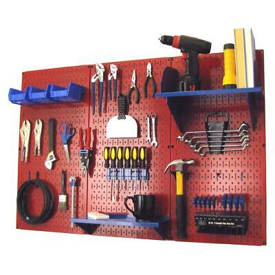 32 X 48 Metal Pegboard Standard Tool Storage Kit Red Pegboard Blue Peg Garage