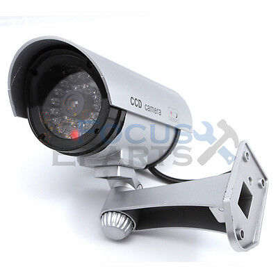 Bullet IR Dummy Fake Security CCTV Surveillance Camera LED Sensor Light Sliver