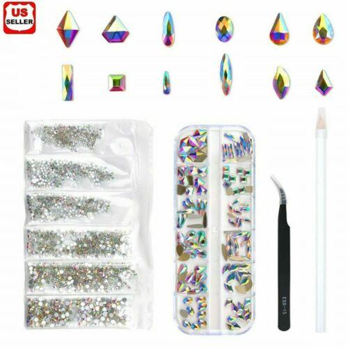 Mix Gems Rhinestones For Nail Art Craft +picking up pen+ stainless steel tweezer Health & Beauty