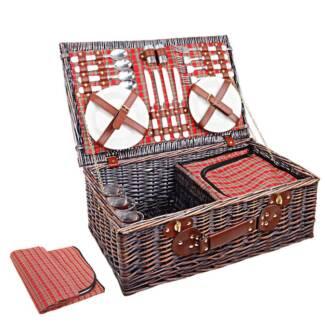 4 Person Picnic Basket Set w/ Cooler Bag Blanket Outdoor Cookin