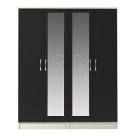 Hampton 4 door double mirrored wardrobe white and black