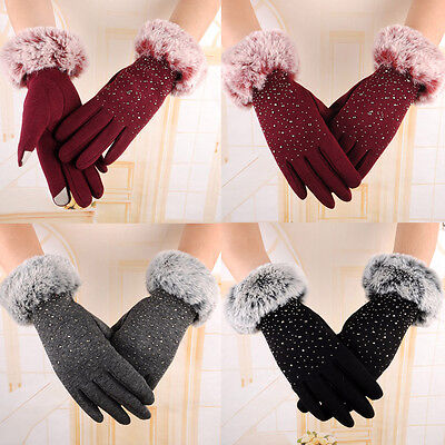 Winter Ladies Fur Touch Screen Pearl Outdoor Sport Snow Warm Womens Gloves