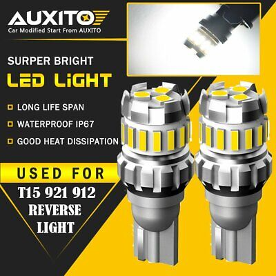 2X AUXITO Backup Reverse Lights 921 912 T15 LED 6500K White Bulb 2400LM 18SMD EA
