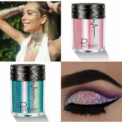 Pudaier Holographic Sequins Glitter Shimmer Pigment Eye Shadow Body Tattoos (Shimmer Tattoos)