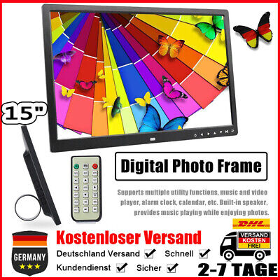 "15"" HD TFT Digitaler Foto Bilderrahmen Wecker Musik Video Player Touchscreen GP1"
