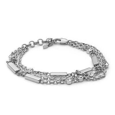 Fossil Damen Armband Farbe Silber Zirkonia Armreif Kette Multi-Chain JOA00436040