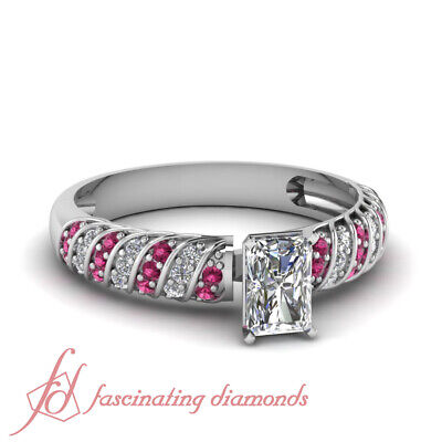 1.35 Ct Radiant Cut F-Color Diamond & Pink Sapphire Engagement Ring Pave Set GIA