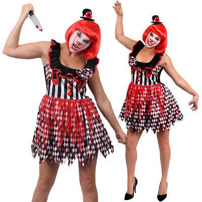 LADIES WOMENS CLOWN KILLER HARLEQUIN HALLOWEEN FANCY DRESS COSTUME S M L XL HAT - Lady Killer Halloween Costume