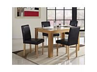 **100% GUARANTEED PRICE!**OAK BELGRAVIA DINNING TABLE WITH 4LEATHER CHAIRS OPTION-SAME DAY DELIVERY