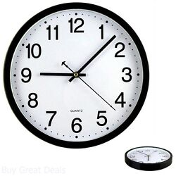 Bekith 12 Inch Silent Non-Ticking Wall Clock Black And White Perfect Office