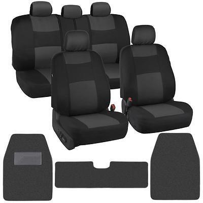 Classic Black/Charcoal Cloth Car Seat Covers + Carpet Floor Mats for Auto Rug XL