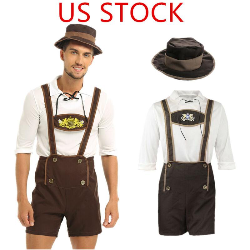Men German Oktoberfest BartendersBavarian Lederhosen Outfits Halloween Costume
