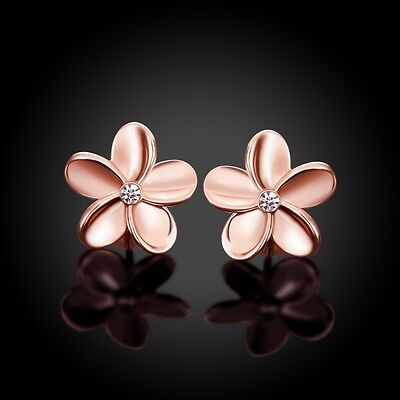 Women's Rose Gold Plated Crystal Lovely Small Flower Ear Stud Earrings Solid CA Small Ear Plate