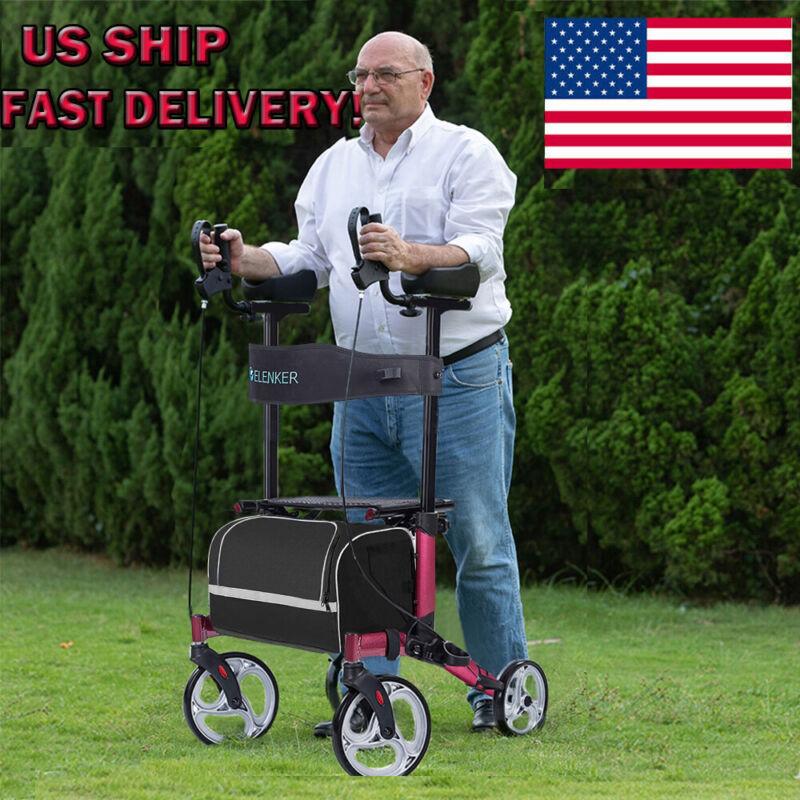 2020 Red Fold Upright Rollator Walker Medical Seat Back 4 Wheel LightWeight USA