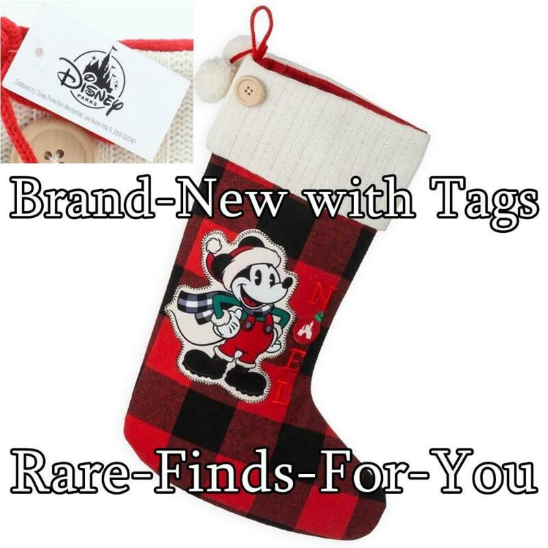 Disney Theme Parks Mickey Mouse Noel Plaid Christmas Holiday Stocking (NEW/TAGS)
