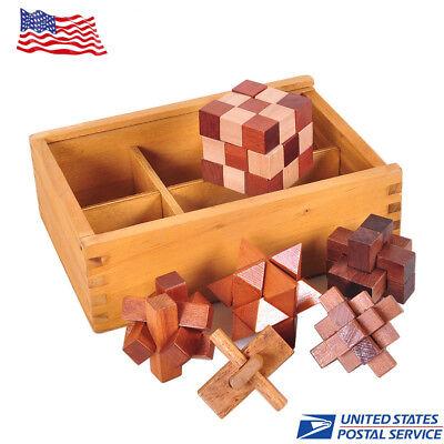 6PCS/Set Kids Wooden Puzzle IQ Brain Teaser Burr Interlocking Puzzles Game Toys